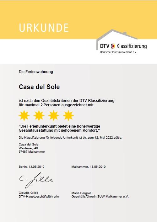 Urkunde Deutscher Tourismus Verband 4-Sterne Ferienwohnung Casa del Sole Maikammer
